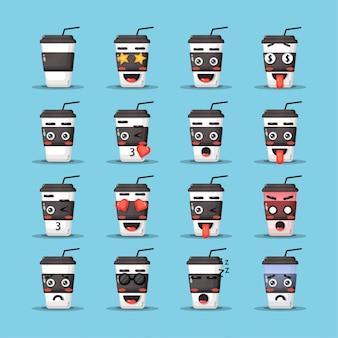 Tasse à café mignonne avec expression