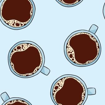 Tasse de café. modèle sans couture dessin animé mignon dessiné à la main