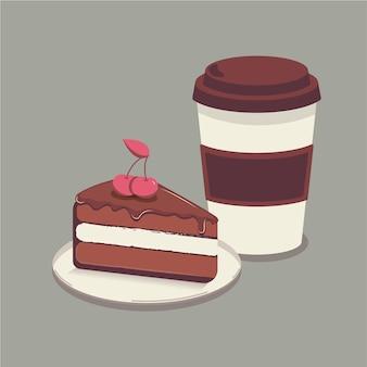 Une tasse de café et un morceau de gâteau sur une assiette