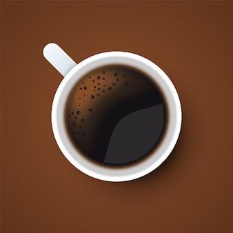 Tasse de café noir vue de dessus