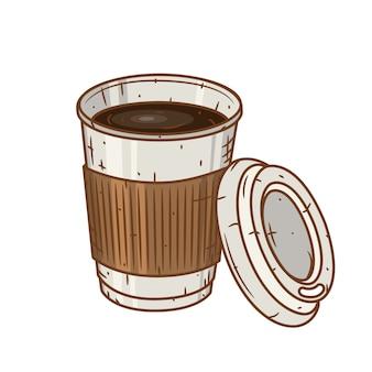 Tasse à café en papier sur blanc