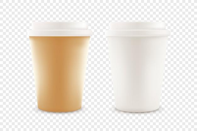 Tasse à café en papier avec des bouchons en plastique isolés