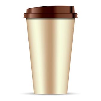 Tasse à café en papier brun isolé