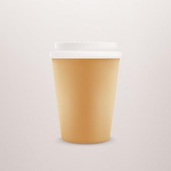 Tasse à café en papier avec capuchon en plastique.