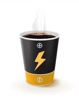 Tasse de café en papier comme une batterie. le café métaphore est le pouvoir des gens. illustration 3d de vecteur créatif