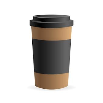 Tasse à café en papier dans un style 3d sur blanc