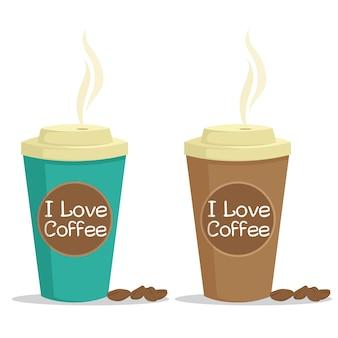 Tasse de café en papier avec des grains de café et j'adore le texte de café