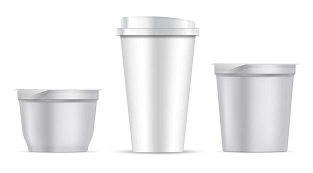 Tasse à café en papier. pot de nourriture en plastique blanc vierge