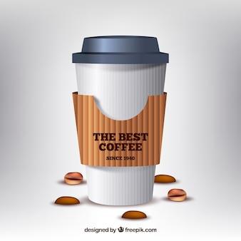 Tasse à café en papier réaliste