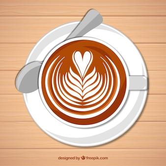 Tasse à café plate avec vue de dessus