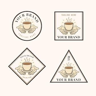Tasse de café à portée de main vintage style illustré