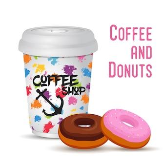 Tasse de café réaliste 3d avec beignet