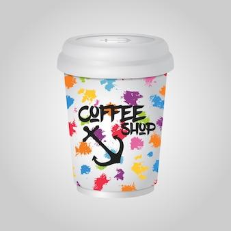Tasse de café réaliste 3d, paquet de tasse