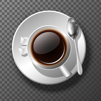 Tasse à café réaliste 3d de la vue de dessus. bonjour bannière de motivation. sur fond transparent.