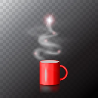 Tasse à café rouge avec arbre de noël en vapeur.