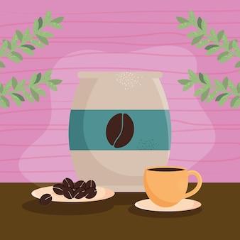 Tasse à café et sac