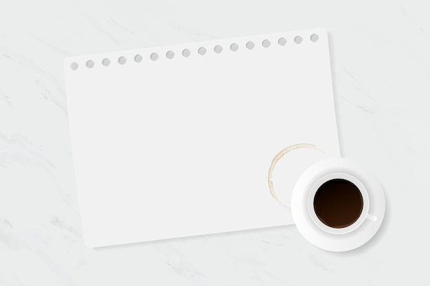 Tasse à café sur table en marbre blanc