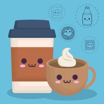 Tasse de café et tasse de chocolat