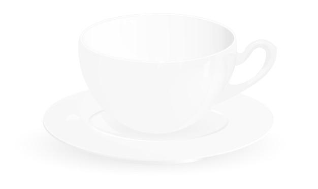 Tasse à café de vecteur sur fond blanc