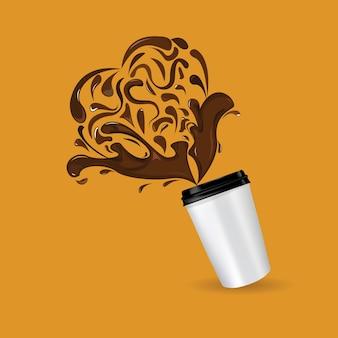 Tasse à café de vecteur et signe de coeur