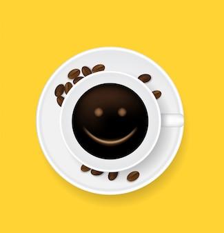 Tasse de café vue de dessus sourire visage et haricots sur fond