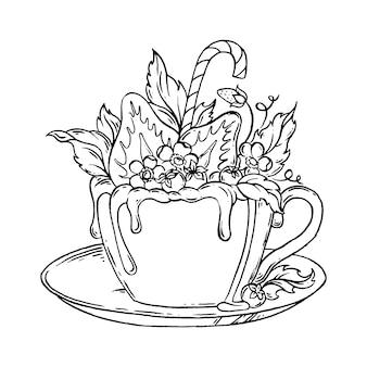 Tasse de chocolat chaud aux fraises.