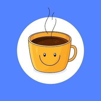 Tasse avec conception d'émoticône de sourire avec illustration de contour de café chaud complet