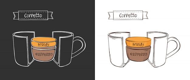Tasse de coretto. info coupe graphique dans une coupe