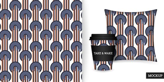 Tasse et coussin à motif géométrique sans couture