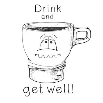 Tasse dessinée à la main. tasse avec un visage. texte boire et se rétablir illustration vectorielle dans le style de croquis.