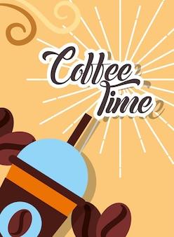 Tasse à emporter café temps haricots carte de style rétro