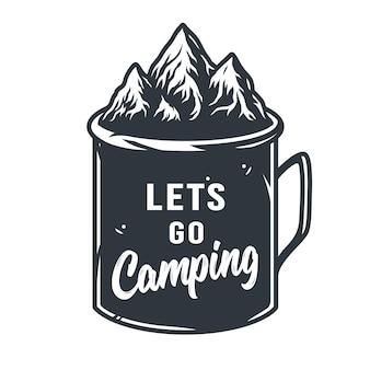 Tasse en étain silhouette monochrome pour le camping et les voyages en pleine nature