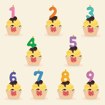 Tasse de gâteau avec numéro de bougie d'anniversaire