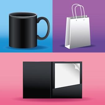 Tasse noire en céramique et sac à provisions avec maquette de cahier icône vector illustration design