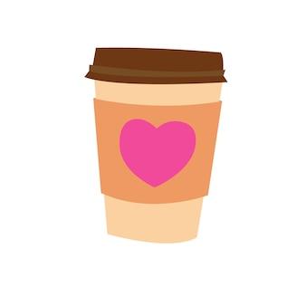 Tasse de papier avec du café avec coeur illustration vectorielle stock pour l'impression sur des cadeaux en papier d'emballage