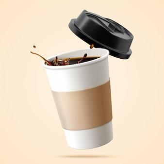 Tasse en papier remplie de café noir en 3d sur fond beige