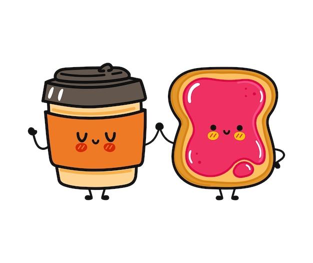 Tasse de papier et toast heureux drôle mignon avec le caractère de confiture