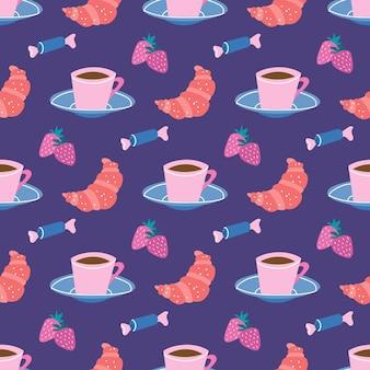 Tasse de pause-café de thé et soucoupe bonbons croissants avec des fraisesmodèle sans couture de vecteur