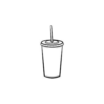 Tasse en plastique d'icône de doodle contour dessiné main soda pop. illustration de croquis de vecteur de soda à emporter pour l'impression, le web, le mobile et l'infographie isolé sur fond blanc.