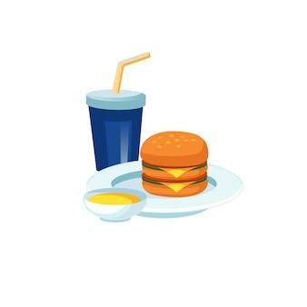 Tasse en plastique plat de dessin animé de vecteur, sauce, hamburger sur la plaque isolée sur fond vide-régime de restauration rapide et concept d'alimentation saine, conception de bannière de site web