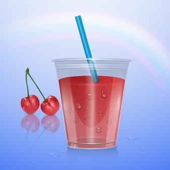 Tasse en plastique réaliste avec smoothie aux cerises, illustration