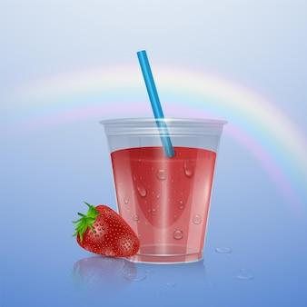 Tasse en plastique réaliste avec smoothie aux fraises, illustration