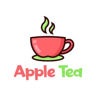 Une tasse de pomme de thé cartoon logo