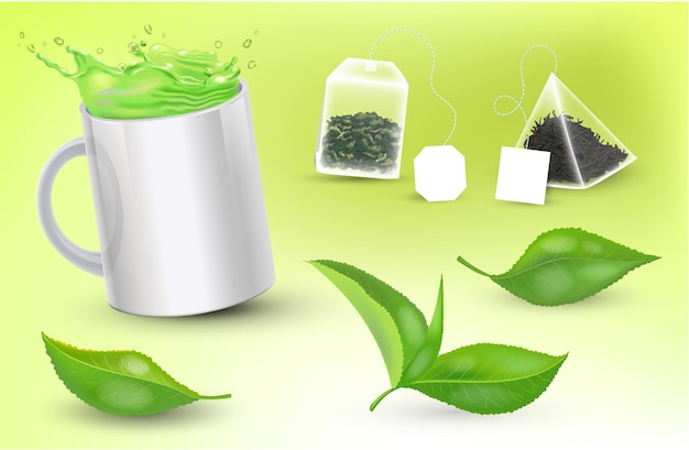 Tasse réaliste avec du thé vert et des sachets de thé et des feuilles de thé illustration vectorielle