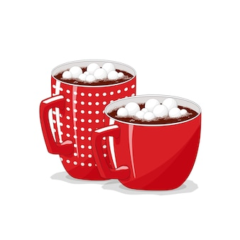 Tasse rouge sur fond blanc isolé. café, cappuccino. cacao aux guimauves. joyeux noël.