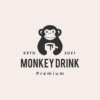 Tasse de singe boire du café hipster logo vintage