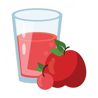 Tasse de smoothie de jus de pomme et de cerise