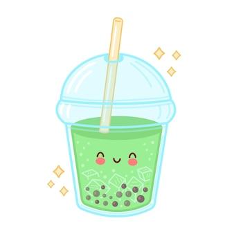 Tasse de thé à bulles drôle heureux mignon