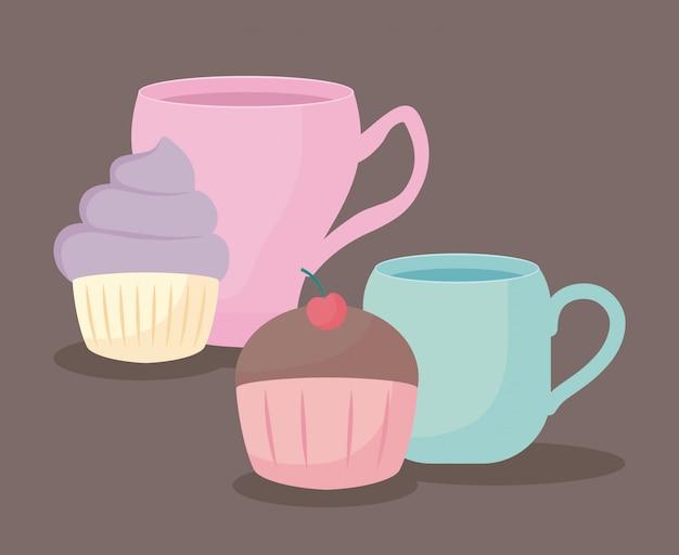 Tasse de thé avec cupcake sucré