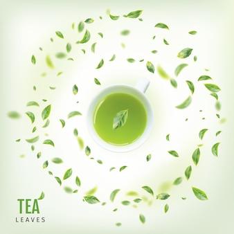 Tasse à thé avec des feuilles vertes fraîches